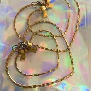 Big heart hoop bow gold earrings Betsey Johnson